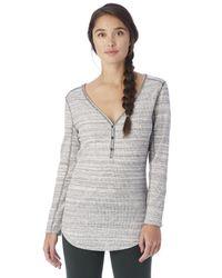 Alternative Apparel | Gray Cozy Eco-space Dye Thermal Henley Shirt | Lyst