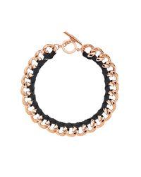 Amanda Wakeley - Metallic Chunky Rose Gold Ribbon Necklace - Lyst