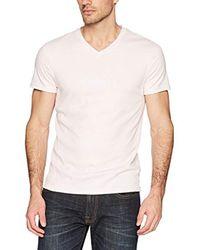 Calvin Klein White Short Sleeve V-neck Cotton T-shirt for men