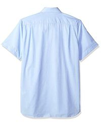 Lacoste Blue Ss End & End Button Down Collar Regular Fit Woven Shirt, Ch4987 for men