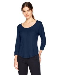 Splendid Blue Long Sleeve Rib Top Shirt Pajama Pj