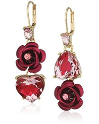 Betsey Johnson Pink And Gold Non-matching Heart Earrings