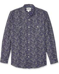 Camisa de algodón de lino de manga larga y corte estándar para hombre Goodthreads de hombre de color Blue