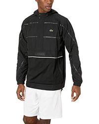 Lacoste Black Sport Long Sleeve Striped Wind Jacket for men