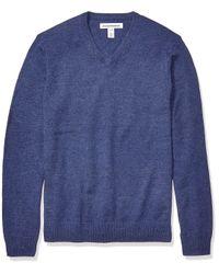 Midweight V-Neck Sweater Pullover-Sweaters di Amazon Essentials in Blue da Uomo