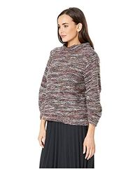 Vince Camuto Gathered Sleeve Mock Neck Multicolor Boucle Top