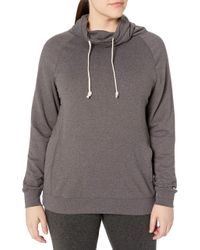 Champion Gray Plus-size French Terry Funnel Neck Top