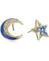 Betsey Johnson Blue S Non-matching Moon Earrings