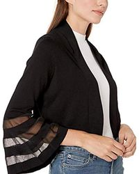 Calvin Klein Black Open Knit Shrug With Illusion Bell Sleeve