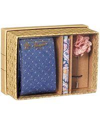Original Penguin Blue 3-piece Pattern Tie, Pocket Square & Lapel Pin Box for men