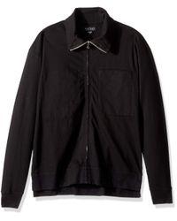 Velvet By Graham & Spencer Black Velvet Stone Jersey Zip Up Jacket With Pockets for men