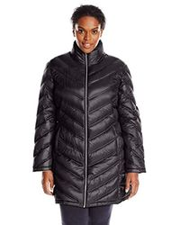 Calvin Klein Black Plus-size Chevron-quilted Packable Down Coat