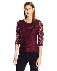 Adrianna Papell Multicolor 3/4 Sleeve Lace Blouse