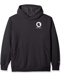Carhartt Black Big & Tall Force Delmont Graphic Hooded Sweatshirt for men