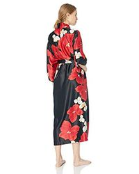 Natori Red Printed Charmeuse Robe
