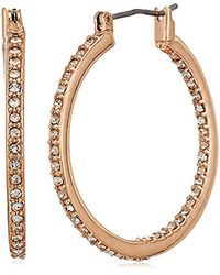 """Kenneth Cole Metallic """"rose Gold Items"""" Rose Gold And Crystal Small Hoop Earrings"""