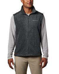 Columbia Black Steens Mountain Full Zip Soft Fleece Vest for men