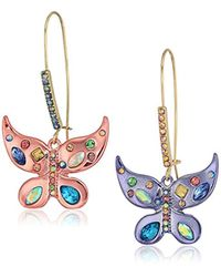 Betsey Johnson Multicolor S Blooming Betsey Colorful Butterfly Drop Earrings, Multi, One Size