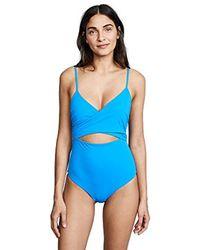 Mara Hoffman Blue Isolde Wrap Swimsuit