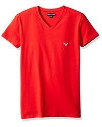 Emporio Armani - Red Shiny Logo Band V-neck T-shirt for Men - Lyst