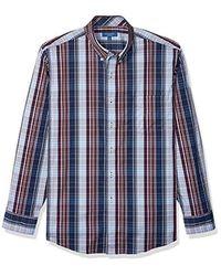 Cole Haan Performance Stretch Long Sleeve Buttondown Shirt, Black Iris, Large for men