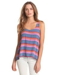 Splendid Blue Striped Tank With Back Cut-out