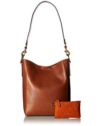 Frye Brown Harness Bucket Hobo Leather Handbag