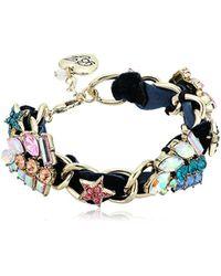 Betsey Johnson Blue Velvet Star Cluster Link Bracelet