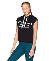Calvin Klein Black Muscle Boxy Cropped Logo Terry Hoodie