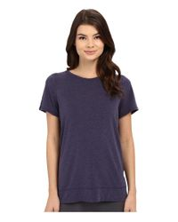Yummie By Heather Thomson Purple Crew Neck Open Back Short Sleeve Cover Up Tee