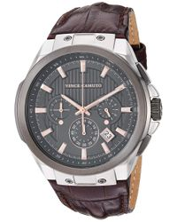 Vince Camuto Vc/1111dgsg Multi-function Silver-tone And Brown Croco-grain Leather Strap Watch for men