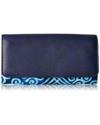Vera Bradley Blue Signature Cotton Audrey Wallet With Rfid Protection