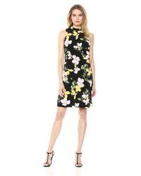 Nine West Black Sleeveless Mock Neck a-line Dress Kleid
