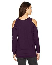 Kensie Purple Ponte Sweatshirt With Cold Shoulder