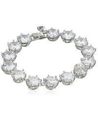 "Betsey Johnson Metallic ""betsey Blue Cubic Zirconia Stone Tennis Bracelet"