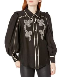 C/meo Collective Black Nearby Western Embroidered Button Down Blouse