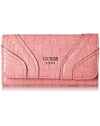 Guess Pink Islington Croc Slim Clutch Wallet Ros