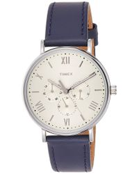 Timex Tw2r29200 Southview 41mm Multifunction Blue/white Leather Strap Watch