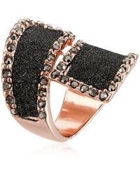Guess Metallic Glitter And Stone Bypass Wrap Rose Gold Ring