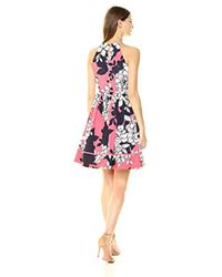 Vince Camuto Pink Floral Halter Fit And Flare Dress