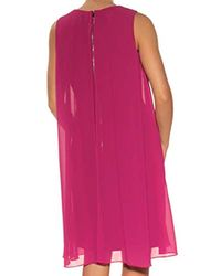 Vince Camuto Pink Solid Float Dress With Keyhole
