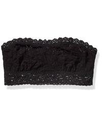 Hanky Panky Signature Lace Lined Bandeau 487102 Black Bra Lg
