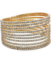 Guess Metallic S Look Of Multi Pave Flex Bangle Bracelet