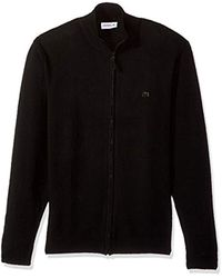 Lacoste Black Full Zip Wool Sweater With Green Croc, Ah2999 for men