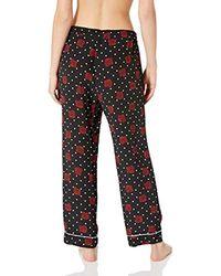 Three Dots Black Sf6176 Dotted Rose Print Pj Pant