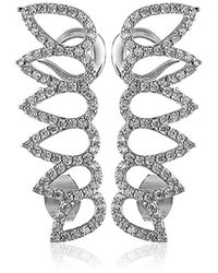 Noir Jewelry Metallic Pave Cubic Zirconia Leaf Ear Cuffs