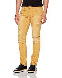 Guess - Slim Taper Destroy Jean In Dusty Yellow for Men - Lyst
