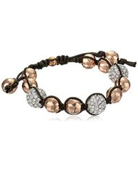 Tai - Pink Rose Gold Hammered Ball With Pave Swarovski Crystals Bracelet - Lyst