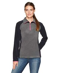 Columbia Black Tested Tough In Pink Fleece Quarter-zip Pullover