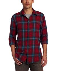 7 For All Mankind Red Double Face Long Sleeve Plaid Shirt for men